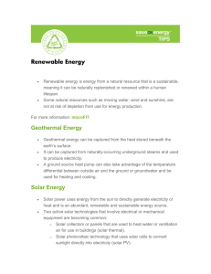 Renewable Energy Geothermal Energy Solar Energy