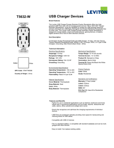 Leviton T5632-W USB Charger and Duplex Receptacle Spec Sheet