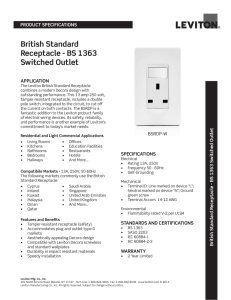 British Standard Receptacle - BS 1363 Switched Outlet