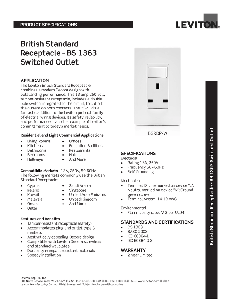 British Standard Receptacle Bs 1363 Switched Outlet