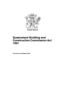 Queensland Building and Construction Commission Act 1991