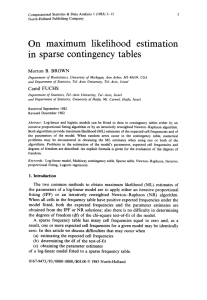 On maximum likelihood estimation in sparse contingency tables