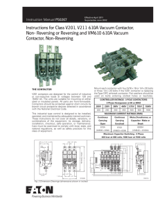 Instructions for Class V201, V211 610A Vacuum Contactor, Non