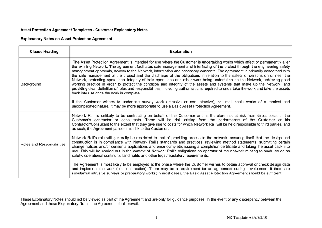 Asset Protection Agreement Explanatory Notes