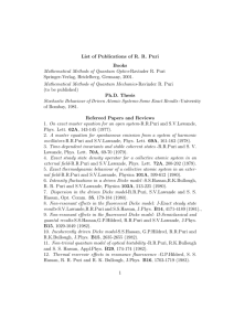 List of Publications of R. R. Puri Books Mathematical Methods of