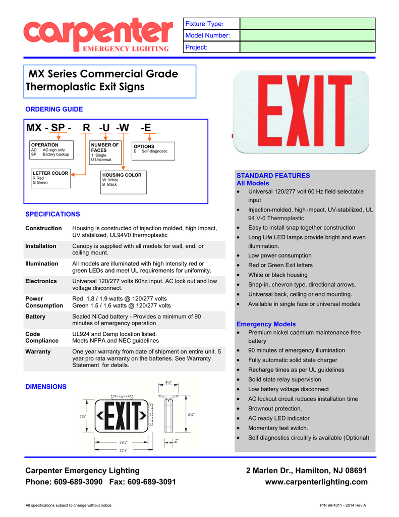 Mx Series Exit Signs Carpenter Emergency Lighting