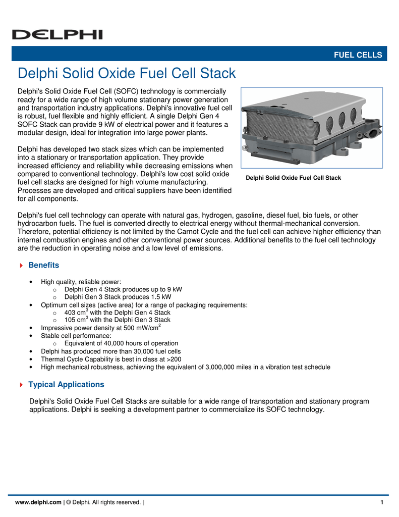 Delphi Solid Oxide Fuel Cell Stack
