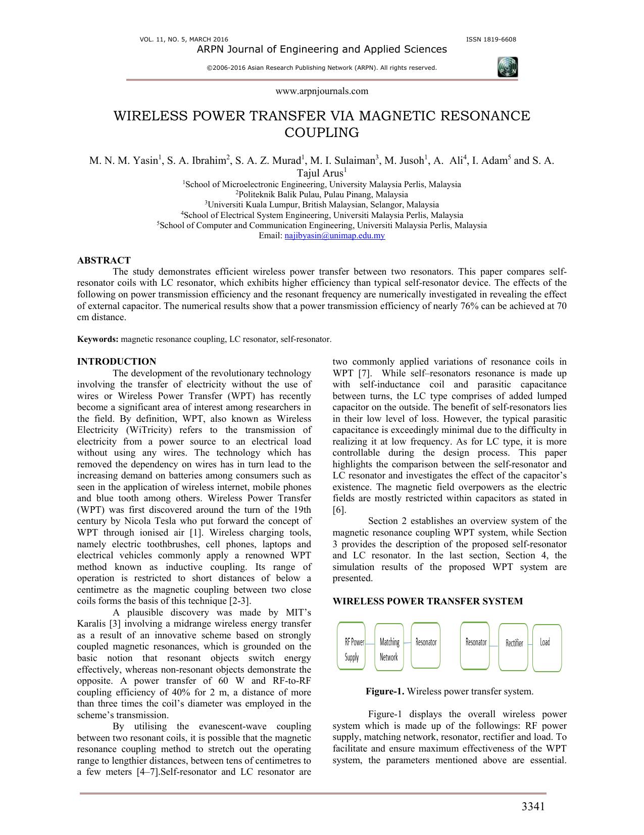 wireless power transfer via magnetic resonance coupling
