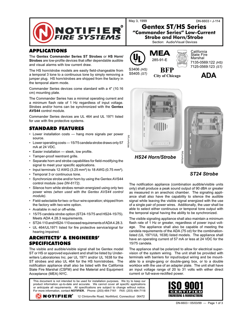 "may 3, 1999 dn-6603 • j-114 gentex st/hs series ""commander series""  low-current strobe and horn/strobe section: audio/visual devices  applications the gentex"