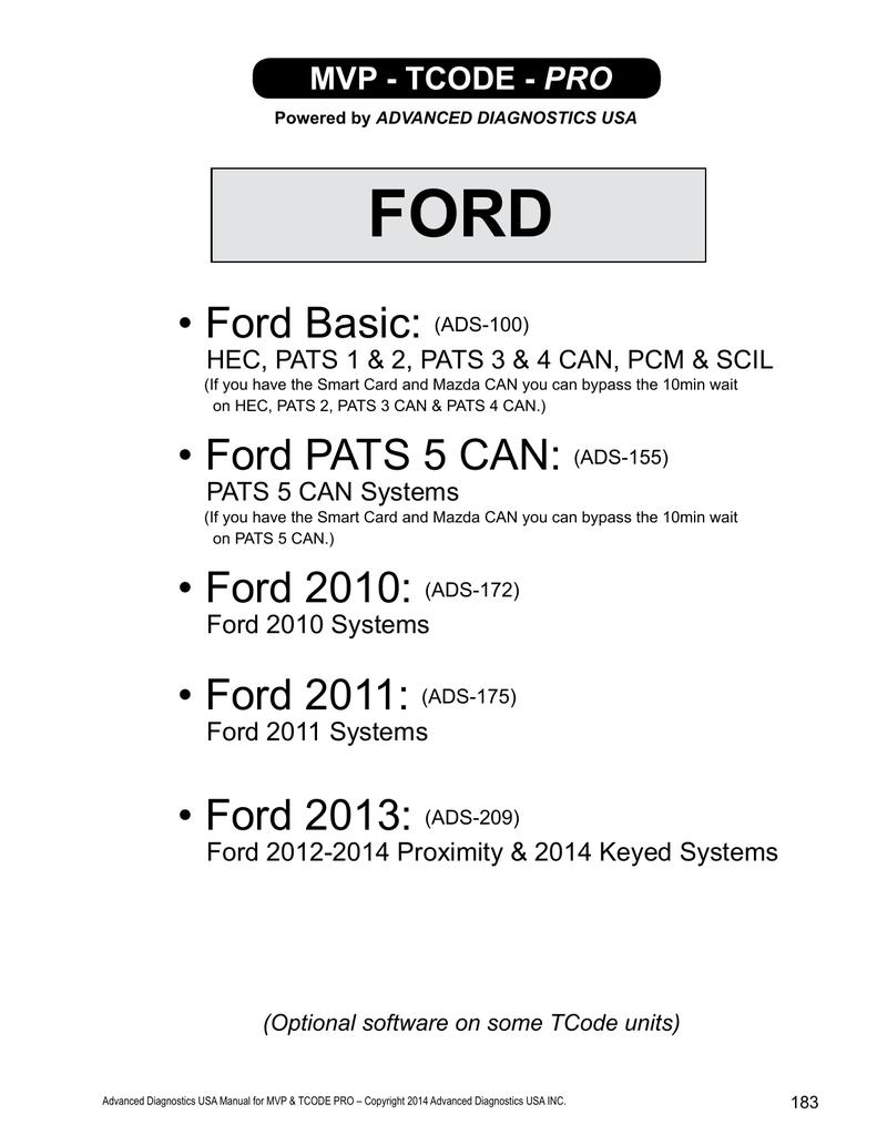 ford pats key chart