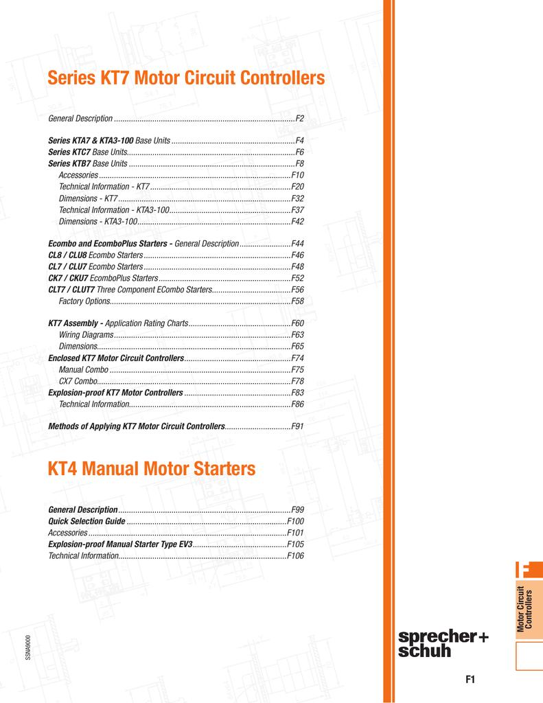 Series Kt7 Motor Circuit Controllers Kt4 Manual Starters F67 Wiring Diagram
