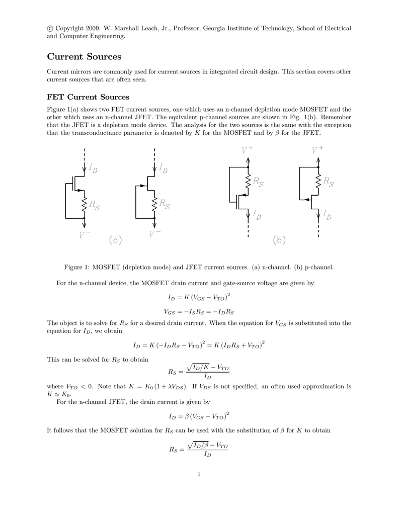 Current Sources W Marshall Leach Jr Mosfet Circuit Design