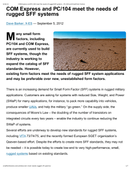 COM Express and PC/104 meet the needs of rugged SFF systems