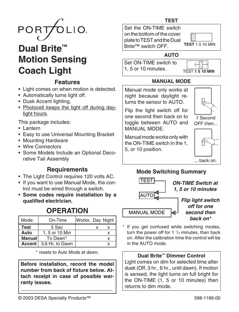 Dual Brite™ Motion Sensing Coach Light on