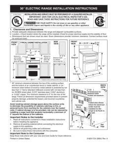"30"" ELECTRIC RANGE INSTALLATION INSTRUCTIONS"