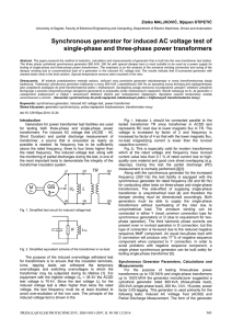 Synchronous generator for induced AC voltage test of single