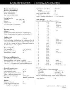 LYDIA MENDELSSOHN — TECHNICAL SPECIFICATIONS
