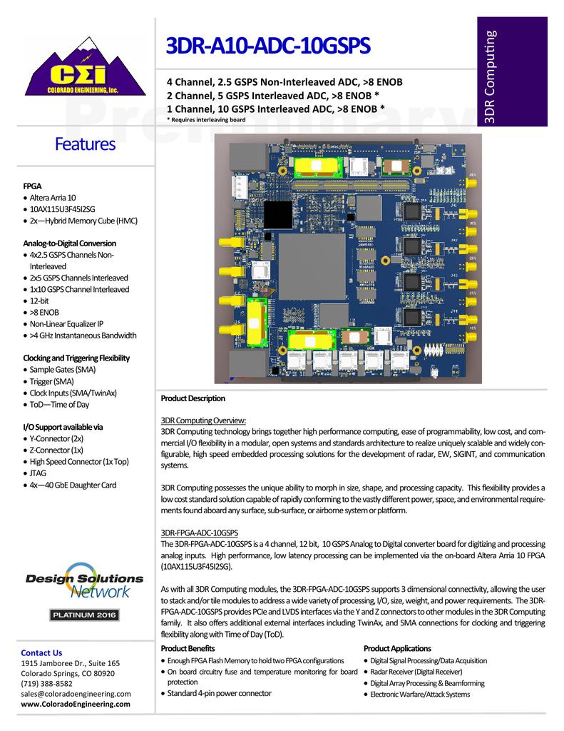 3DR-A10-ADC-10GSPS - Colorado Engineering, Inc