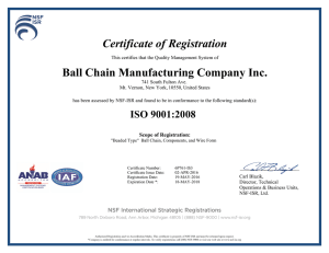 Certificate of Registration Ball Chain Manufacturing Company Inc.