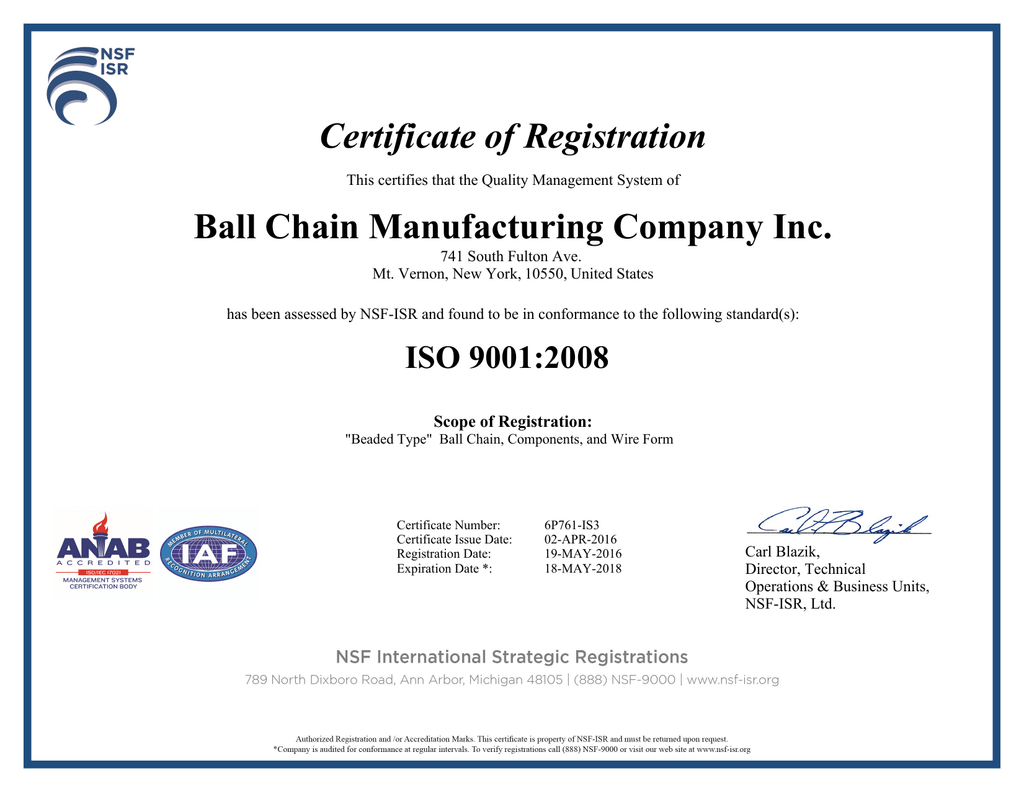 Certificate Of Registration Ball Chain Manufacturing Company Inc