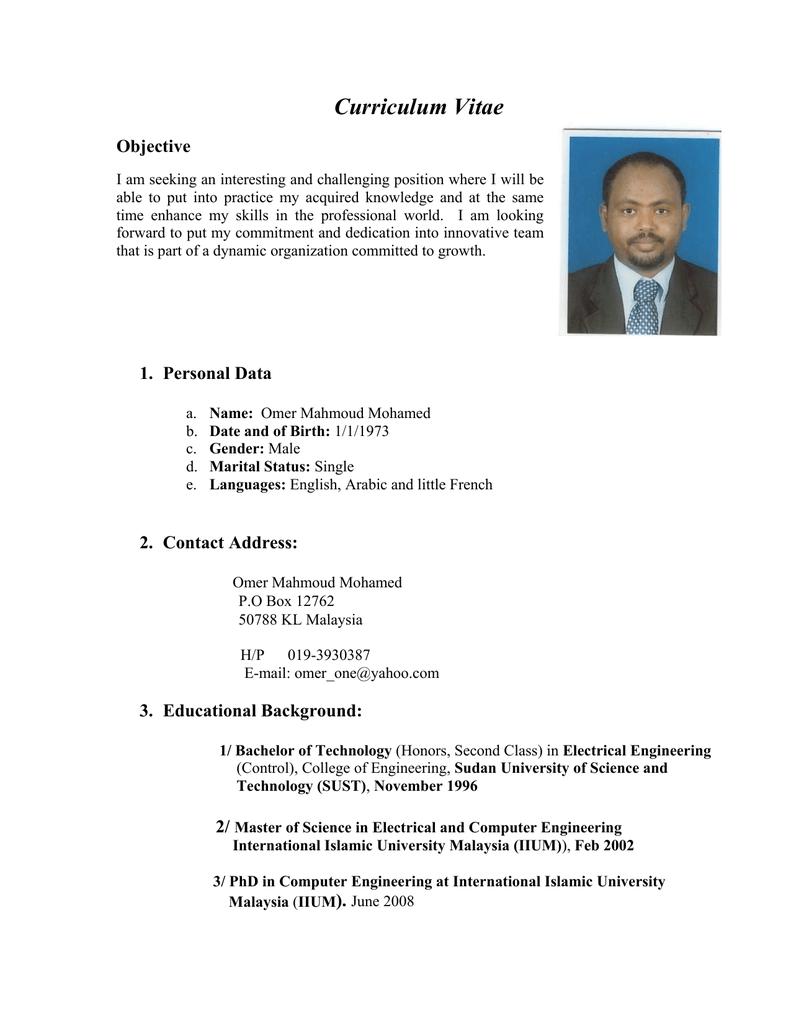 Curriculum Vitae International Islamic University Malaysia