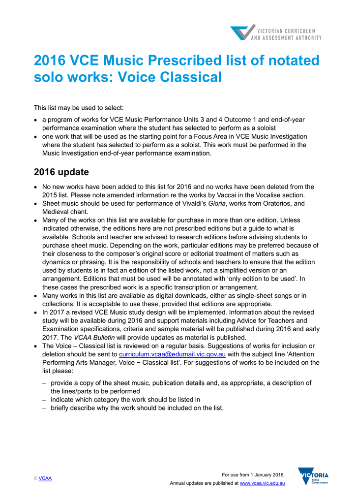 2016 VCE Music Prescribed list of notated solo works: Voice