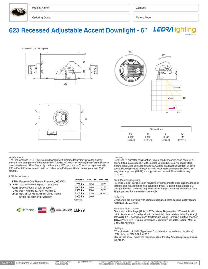 623 Recessed Adjustable Accent Downlight 6 0 10v Dimming Led Wiring Diagram