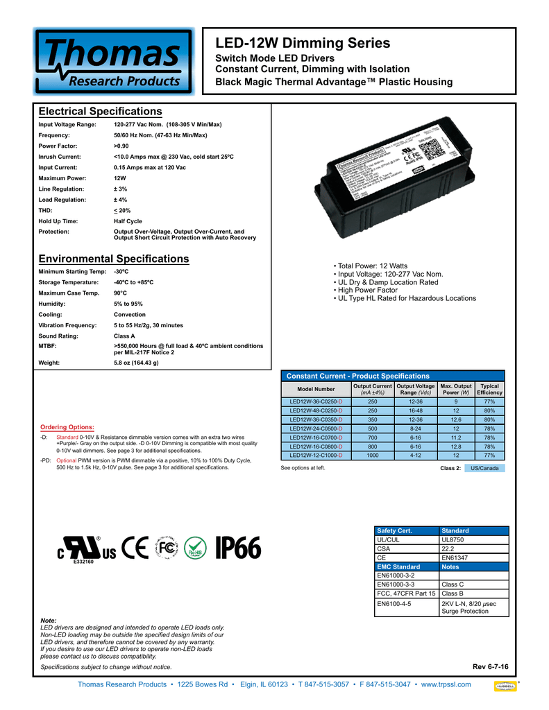 Led12w D Thomas Research Products Led Drivers 0 10v Dimming Wiring Diagram On 3 Way Dimmer