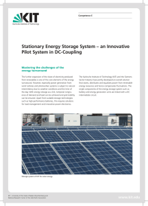 Stationary Energy Storage System – an Innovative Pilot - KIT