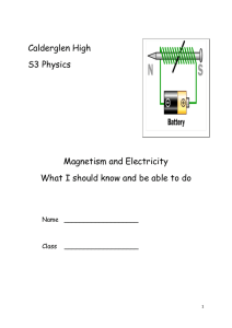 Calderglen High S3 Physics Magnetism and Electricity What I