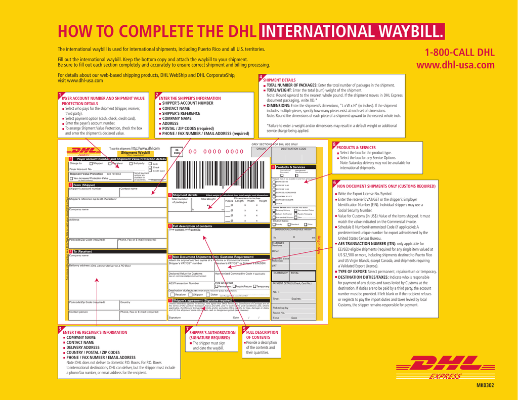 Dhl Customer Service Phone Number >> How To Complete The Dhl International Waybill
