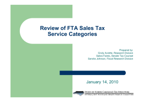Review of FTA Sales Tax Service Categories