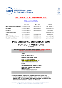 PRE-ARRIVAL INFORMATION FOR ICTP VISITORS