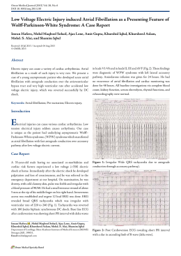 Low Voltage Electric Injury induced Atrial Fibrillation as a Presenting