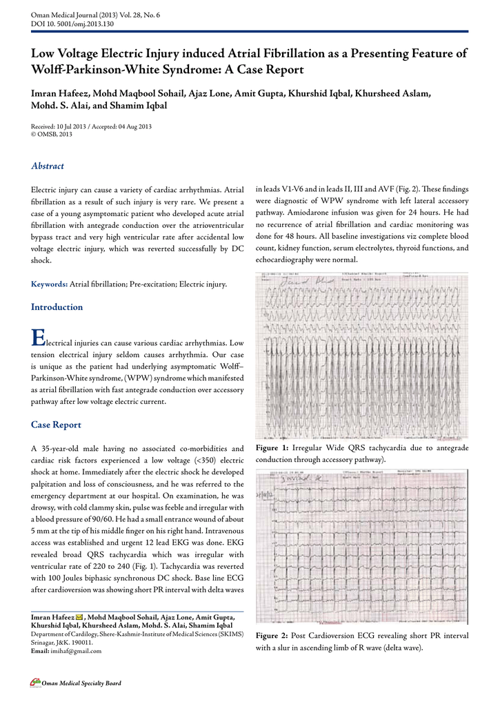 Low Voltage Electric Injury induced Atrial Fibrillation as a
