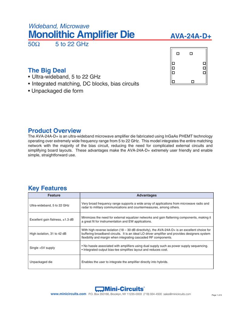 Data Sheet Mini Circuits Circuit Amplifiers