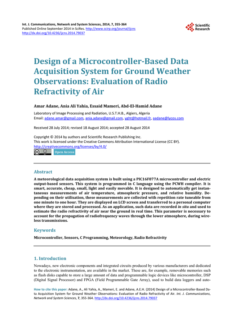 Design Of A Microcontroller Based Data Acquisition System For