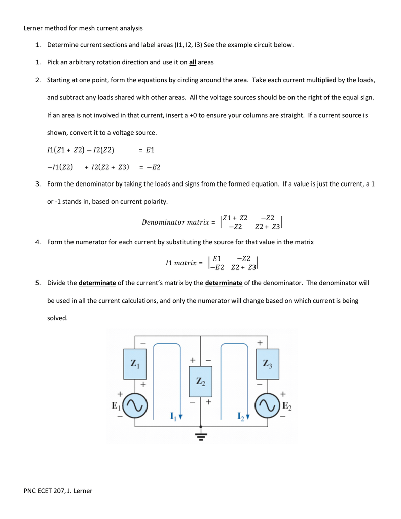 PNC ECET 207, J  Lerner Lerner method for mesh current