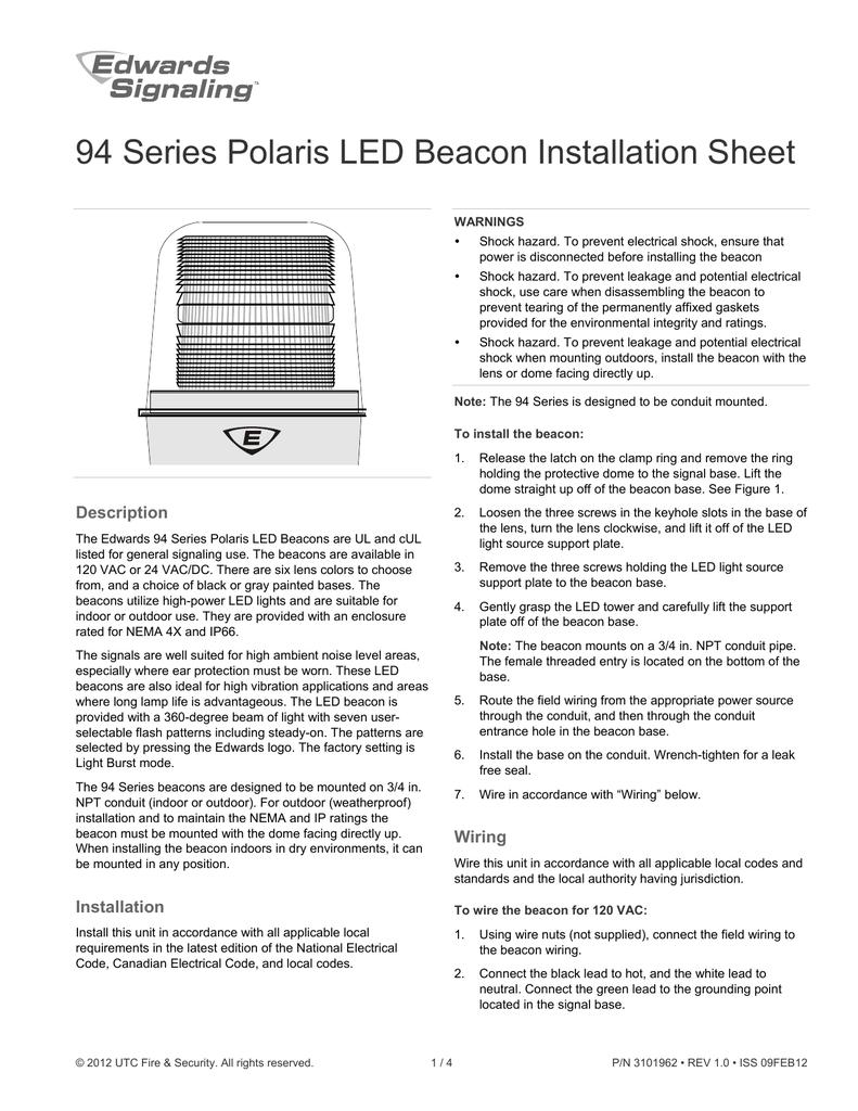 94 Series Polaris Led Beacon Installation Sheet Outdoor Wiring Code 018812899 1 57870682d4254053153e3c9d906902a3