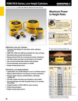 p series lightweight hand pumps exclusively from enerpac rsm rcs series low height cylinders