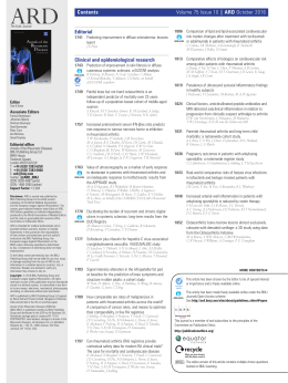 Contents Volume 75 Issue 10 | ARD October 2016 Editorial Clinical