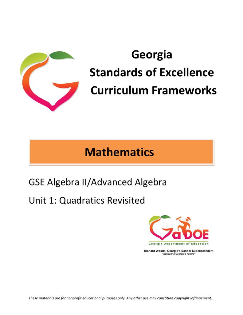 Georgia Advanced Algebra Unit 1
