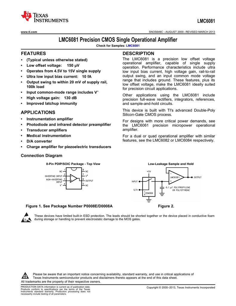 Lmc6081 Precision Cmos Single Operational Amplifier Rev C Quad Circuit