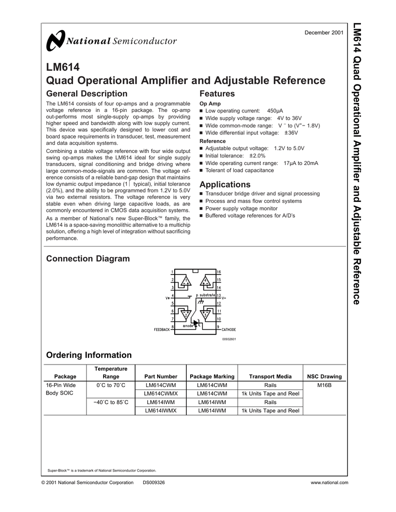 Lm614 Quad Operational Amplifier And Adjustable Reference Single Power Supply Voltage In Lm124 Application Circuit Datasheet 018813282 1 7c6acbc82c65a18ad72c8e178262e7c1