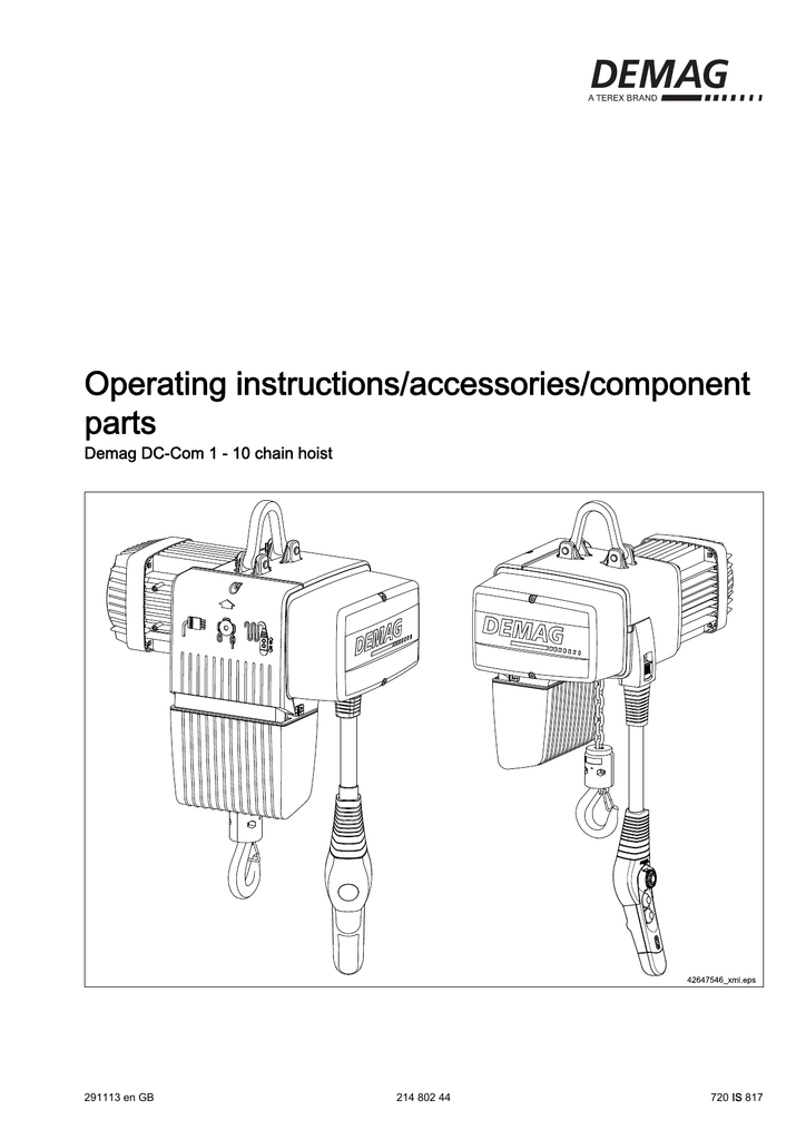 Dc Com Chain Hoist Operating Documentation  Pdf