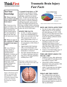 Traumatic Brain Injury Fast Facts