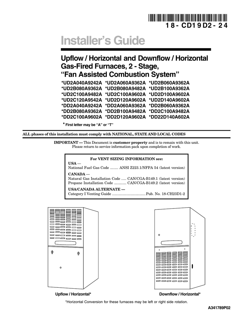 Trane XL80 Furnace Installation Manual
