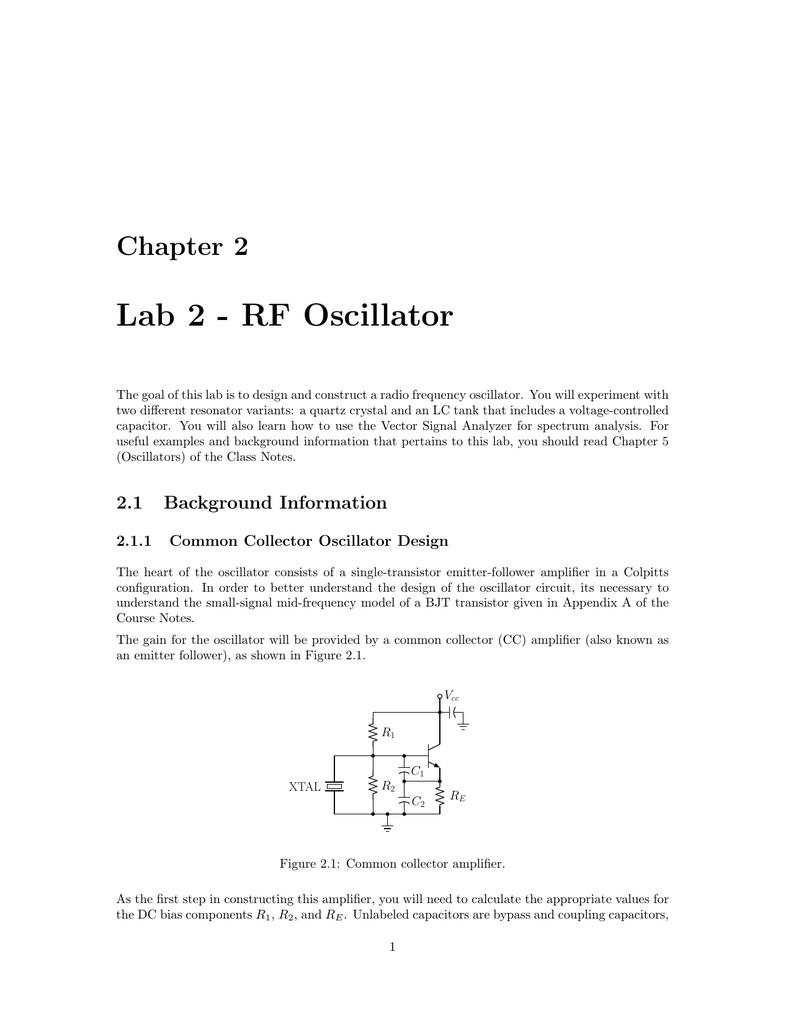 Lab 2 Rf Oscillator Course Website Directory 1mhz Quartz Crystal Circuit Signalprocessing