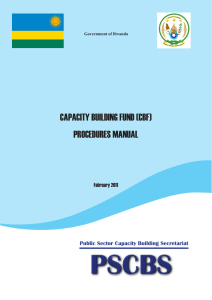 CAPACITY BUILDING FUND (CBF) PROCEDURES MANUAL