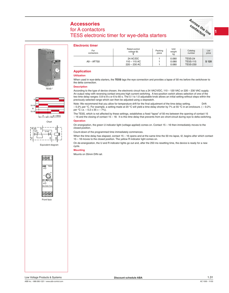 Accessories For A Contactors Te5s Electronic Timer Wye Wiring Diagram Of Star Delta Starter With
